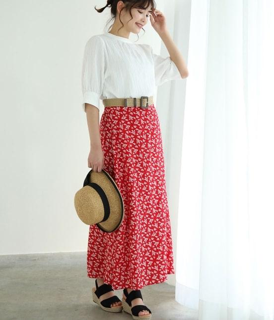 ビス | 【TIME SALE】単色花柄プリントマーメイドスカート - 8