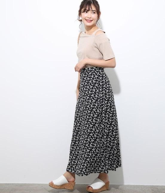 ビス | 【TIME SALE】単色花柄プリントマーメイドスカート - 10