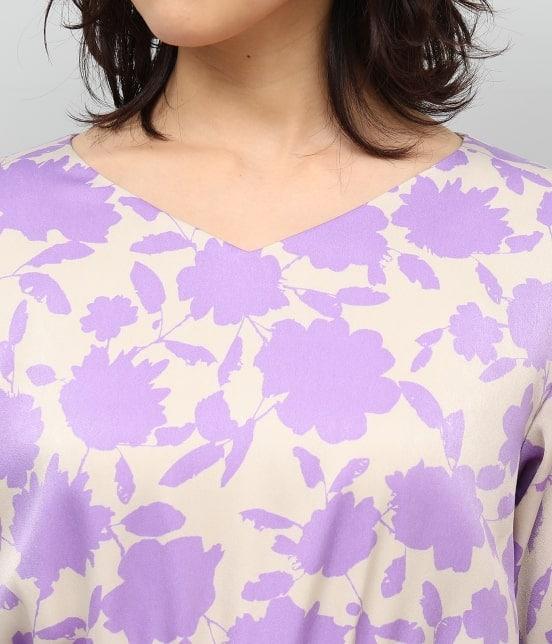 ロペ | 起毛サテン花柄ワンピース - 5