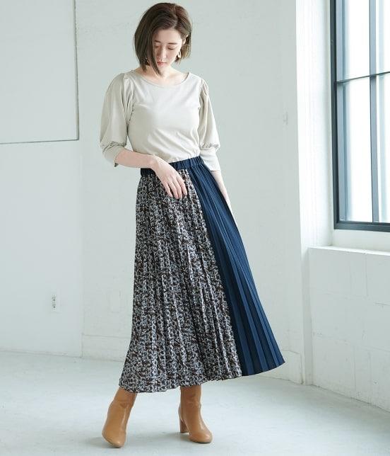 ロペピクニック | 【TIME SALE】【WEB限定】フラワー切替プリーツスカート - 8