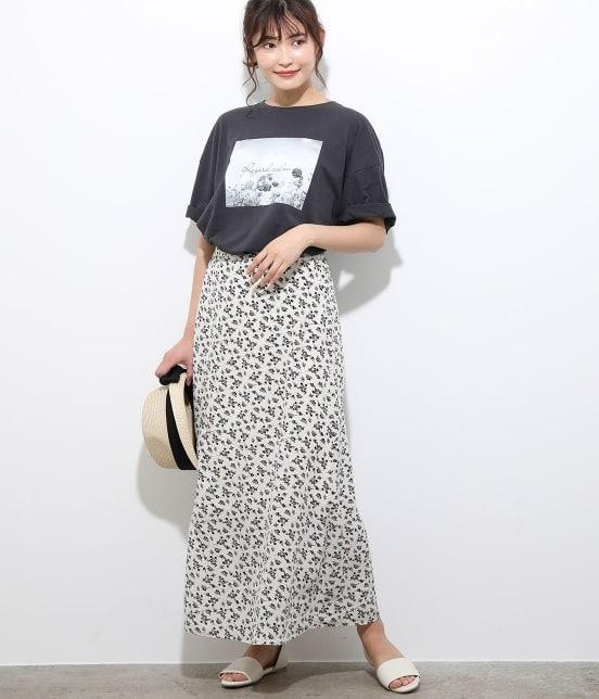 ビス | 【TIME SALE】単色花柄プリントマーメイドスカート - 11
