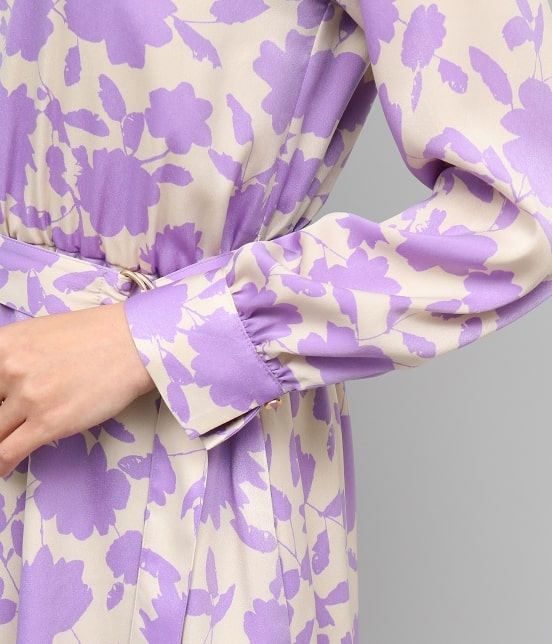 ロペ | 起毛サテン花柄ワンピース - 7