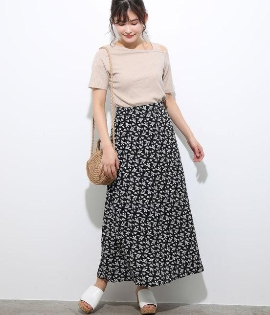 ビス | 【TIME SALE】単色花柄プリントマーメイドスカート - 9