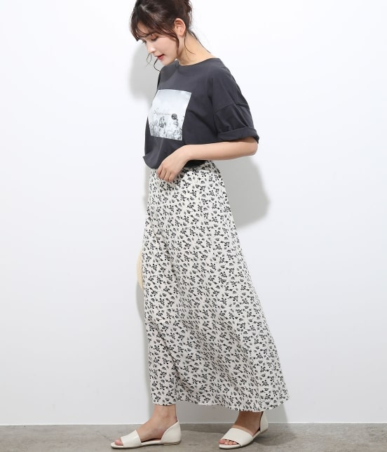 ビス | 【TIME SALE】単色花柄プリントマーメイドスカート - 12