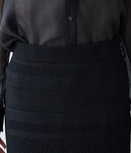ロペピクニック | 【PRESALE】【セットアップ対応】透かし編みニットロングスカート - 3