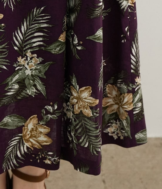 ロペピクニック | 【今だけ通常価格から10%OFF】麻レーヨンボタニカルプリントスカート - 7